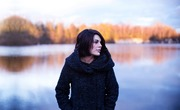 Girl woman coat winter cold lake