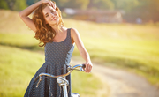 Woman girl summer bike beautiful alone shutterstock ad