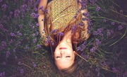 Girl asleep flowers lavender bright alone happy thinking meditating grass edit