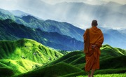 Monk and mountains pixabay